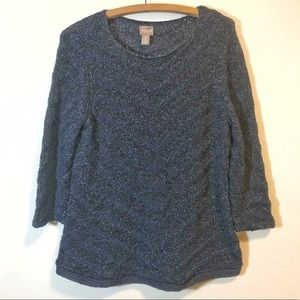 Chico's Blue Loose Knit Sweater Women's Large 12